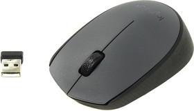 Мышь LOGITECH M170 оптическая беспроводная USB, серый и черный [910-004642]