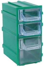 Фото 1/3 К6 Зеленый, Ячейки, зеленый корпус прозрачный контейнер 3 секции, 49х82х100мм