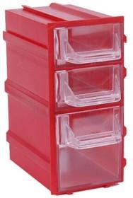 Фото 1/3 К6 Красный, Ячейки, красный корпус прозрачный контейнер 3 секции, 49х82х100мм