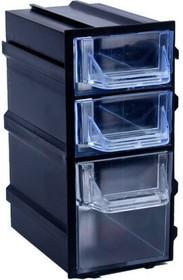 Фото 1/3 К6 Черный, Ячейки, черный корпус прозрачный контейнер 3 секции, 49х82х100мм