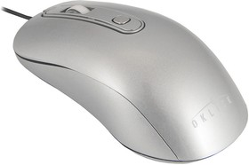 Мышь OKLICK 155M оптическая проводная USB, серебристый [m-718]