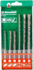 Набор буров Hammer Flex 201-902 DR SDS+ набор No2 5/6/8 X 110, 6/8/10 X 160, 6шт.