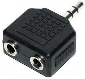 Переходник Jack 3.5 mm вилка  --  2хJack 3.5 mm розетка, стерео-аудио (PL1065)