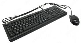 Комплект (клавиатура+мышь) ASUS U2000, USB, проводной, черный [90-xb1000km00050]