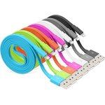 Фото 2/2 PL1358 (PL1359,PL1360, PL1361,PL1362, PL1363,PL1364,PL1365), Кабель USB-Lightning плоский для Apple Iphone 5, 6s,7 8 pin, цветной, 1м
