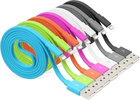 USB кабель Pro Legend плоский Iphone 5, 6s, 8 pin, 1м, оранжевый (PL1363)