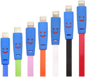 PL1366 (PL1367,PL1368,PL1369), Кабель USB 2.0-Lightning, светящийся смайлик для Iphone 5, 6s, 8pin, цветной, 1м