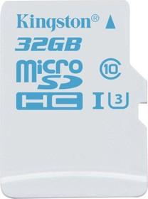 Карта памяти microSDHC UHS-I KINGSTON 32 ГБ, 90 МБ/с, Class 10, SDCAC/32GB, 1 шт., переходник SD