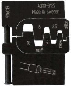 PM-4300-3127, Матрица для опрессовки втулочных наконечников: 0.25 - 0.75 мм2, 1 - 1.5 мм2, 2.5 мм2, 4 мм2, 6 мм2,