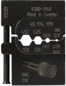 PM-4300-3140 , Матрица для опрессовки коаксиального кабеля: RG 174,179 (0.7 мм, 1.69 мм, 3.26 мм, 4.52 мм)