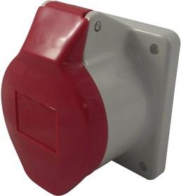 410, Разъем Pin & Sleeve, 16 А, 400 В, Монтаж в Панель, Вывод, 3P+N+E, Красный