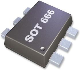 PEMT1,115, Массив биполярных транзисторов, универсальный, PNP, 40 В, 200 мВт, -100 мА, 120 hFE, SOT-666