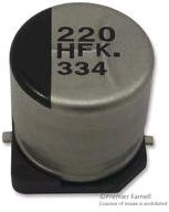 Фото 1/4 ECAP SMD, 68 мкф, 100 В, EEVFK2A680Q, Конденсатор электролитический алюминиевый SMD