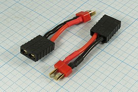 Кабель-переходник силового питания гнездо TRX на штекер Deans с кабелем 4см,20А,№ 12942 шт пит Deans-гн TRX\ 2C\\каб\L 4см\[TRX F-Deans M]