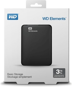"WDBU6Y0030BBK-EESN,  Внешний жёсткий диск WD Elements SE Portable WDBU6Y0030BBK-EESN 3000ГБ 2,5"" 5400RPM USB 3.0 Black"