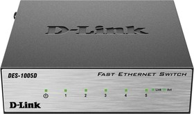 Фото 1/2 DES-1005D/O2B, 5-port UTP 10/100Mbps Auto-sensing, Stand-alone, Unmanaged,