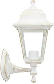 11-11 БЕЛ П (НБУ 04-60-001 ЛЕДА) Светильник-фонарь настенный белая патина 4-хгранный прозрач стекло
