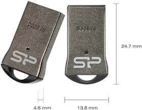 Фото 1/2 Флешка USB SILICON POWER Touch T01 8Гб, USB2.0, черный и серебристый [sp008gbuf2t01v1k]