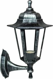 11-99 НБУ 06-60-001 ЛЕДА1 СЕР Светильник-фонарь настенный серебряный 6-гранный прозрачное стекло
