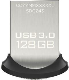 Флешка USB SANDISK Ultra Fit 128Гб, USB3.0, черный [sdcz43-128g-gam46]