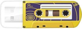 Флешка USB VERBATIM Mini Cassette Edition 32Гб, USB2.0, желтый и рисунок [49393]