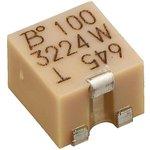 Фото 3/5 3224W-1-100E, Res Cermet Trimmer 10 Ohm 10% 0.25W(1/4W) 12(Elec)Turns 1.5mm (4.8 X 3.9 X 5.3mm) J-Hook SMD T/R