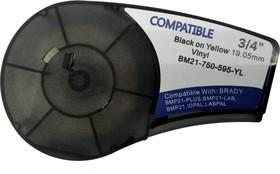 BM21-750-595-YL - лента виниловая для BMP21-Plus 19.05мм/6.4м, черная на желтом, аналог brd142811 (Китай)