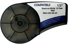 BM21-500-595-WT - лента виниловая для BMP21-Plus 12.7мм/6.4м, черная на белом, аналог brd142807 (Китай)