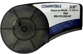 BM21-375-595-WT - лента виниловая для BMP21-Plus 9.53мм/6.4м, черная на белом, аналог brd142800 (Китай)