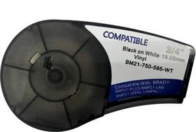 BM21-750-595-WT - лента виниловая для BMP21-Plus 19.05мм/6.4м, черная на белом, аналог brd142797 (Китай)