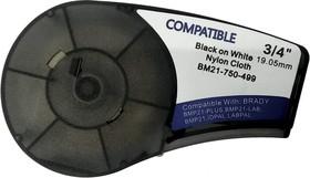 BM21-750-499 - лента нейлоновая для BMP21-Plus 19.05мм/4.88м, черная на белом, аналог brd110895 (Китай)