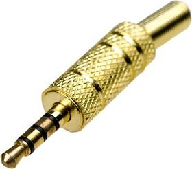"1-075G, Разъем аудио-видео 3.5мм ""шт"" 4 конт.металл ""позол."" на кабель"