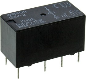 G5V2 12DC, сигнальное реле 2DPDT 20.5*10.1*11.5мм