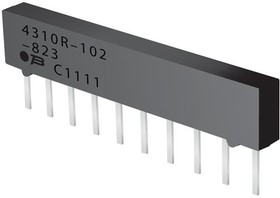 Фото 1/2 4308R-102-101LF, Res Thick Film NET 100 Ohm 2% 1W ±100ppm/°C ISOL Molded 8-Pin SIP Pin Thru-Hole