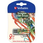 Флешка USB VERBATIM Store n Go Mini Tattoo Dragon 8Гб ...