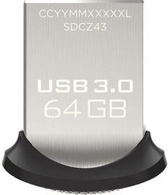 Флешка USB SANDISK Ultra Fit 64Гб, USB3.0, черный [sdcz43-064g-gam46]