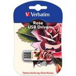 Флешка USB VERBATIM Mini Tattoo Rose 16Гб, USB2.0 ...