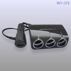 Разветвитель 12/24В арт.WF-071 3 гнезда + USB 1A (62578)