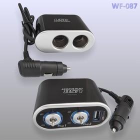 Разветвитель 12/24В арт.WF-087 2 гнезда + USB 1A (625884)