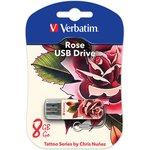 Флешка USB VERBATIM Store n Go Mini Tattoo Rose 8Гб, USB2.0 ...