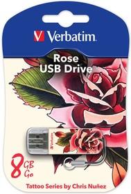 Флешка USB VERBATIM Store n Go Mini Tattoo Rose 8Гб, USB2.0, белый и узор [49881]