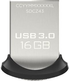 Флешка USB SANDISK Ultra Fit 16Гб, USB3.0, черный [sdcz43-016g-gam46]