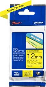 Лента BROTHER TZE631 12мм, черный шрифт, желтый фон, 8м
