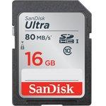 Карта памяти SDHC UHS-I SANDISK Ultra 80 16 ГБ, 80 МБ/с ...