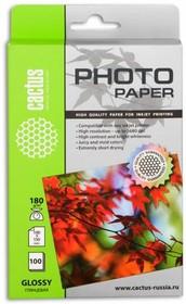 Фотобумага CACTUS CS-GA6180100E, для струйной печати, 180г/м2, 100 листов