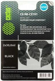 Заправочный комплект CACTUS CS-RK-CZ101, для HP, 60мл, черный