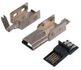 MiniUSB-A (без корпуса), Вилка на кабель, 5 pin (4 контакта)