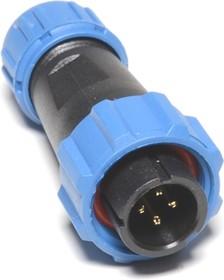 OL1310/P4, Разъем герметичный 4pin вилка на кабель с гайкой