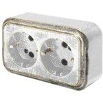 Розетка о/п с з/к 2-местная серия Palazzo Vintage, белое золото патина 26437 8