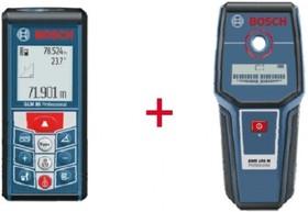 GLM 80+GMS 100, Лазерный дальномер-уклономер + детектор для обнаружения арматуры, цветных металлов, электропроводки